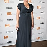 Kate donned a dark gray custom gown by Jenny Packham — complete with Swarovski crystal embellishments — for her appearance at the Toronto Film Festival.