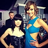 Karlie Kloss hit the Grammys red carpet in a sexy blue Michael Kors dress, and caught up with a Roberto Cavalli-clad Carly Rae Jepsen. Source: Instagram user karliekloss