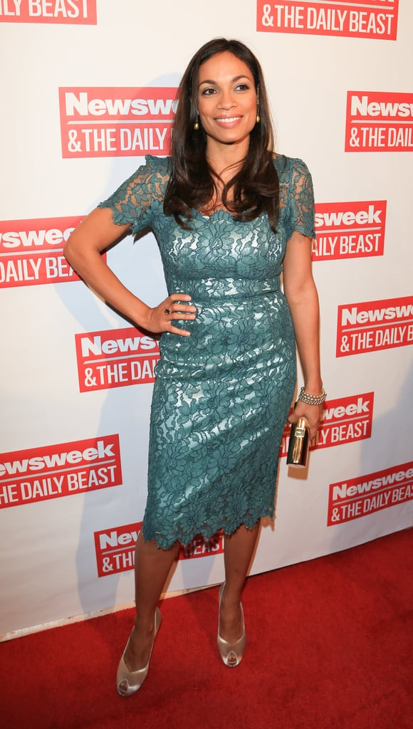 Rosario Dawson wore a seafoam-green lace dress paired with metallic accessories to The Daily Beast's bipartisan inauguration brunch.