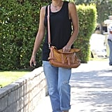 Gwen Stefani sported shades and a pair of ankle boots.