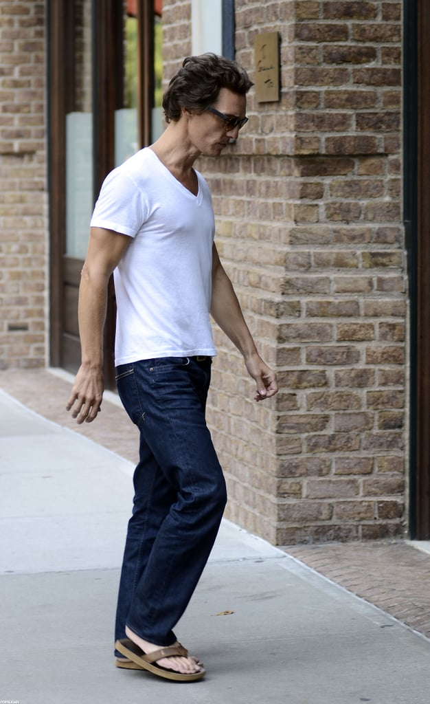 Matthew McConaughey wore a white t-shirt in NYC.