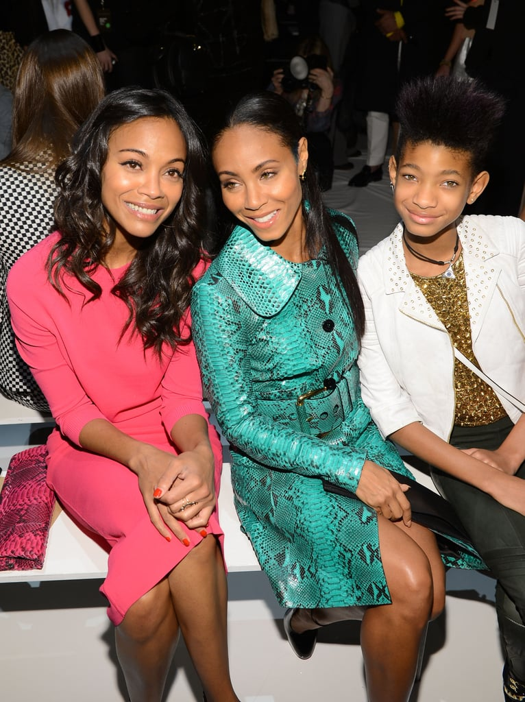 Zoe Saldana posed with Jada Pinkett Smith and Willow Smith at the Michael Kors show on Wednesday.