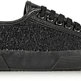 Superga + Rodarte tweed, snake-effect leather and glossed leather sneakers ($189)