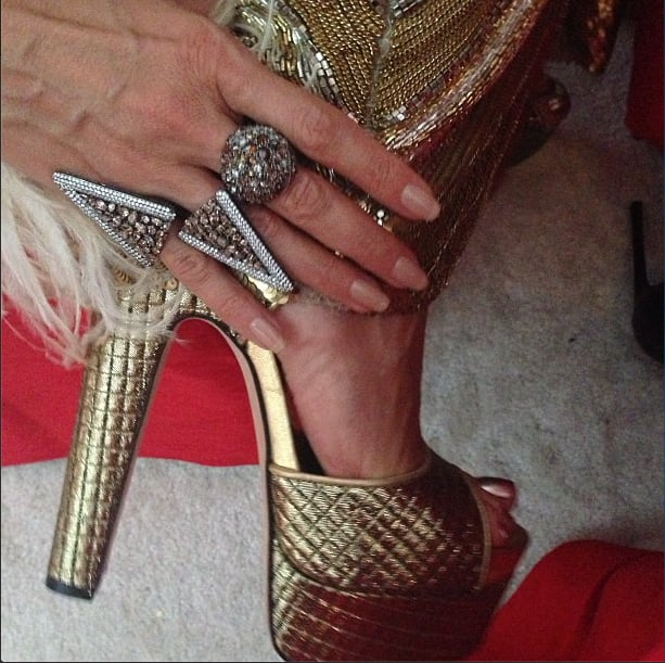 A Brian Atwood shoe close-up on Heidi Klum. Source: Instagram user missnewbark