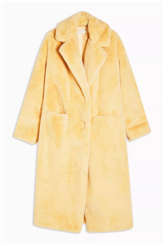 Topshop Buttermilk Maxi Length Faux Fur Coat