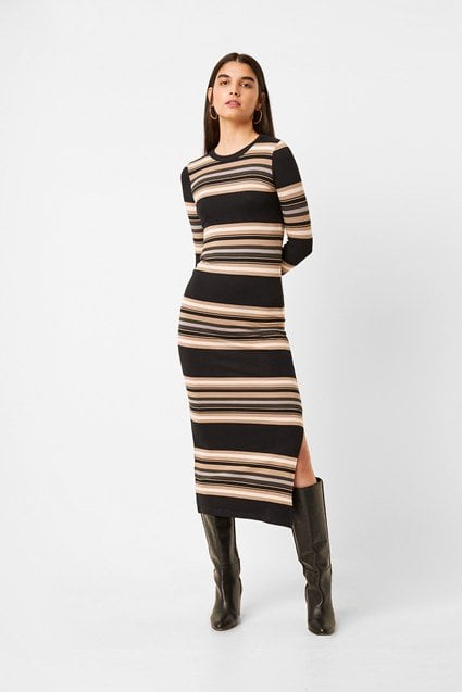 French Connection Sweeter Ribbed Stripe Bodycon Midi Dress