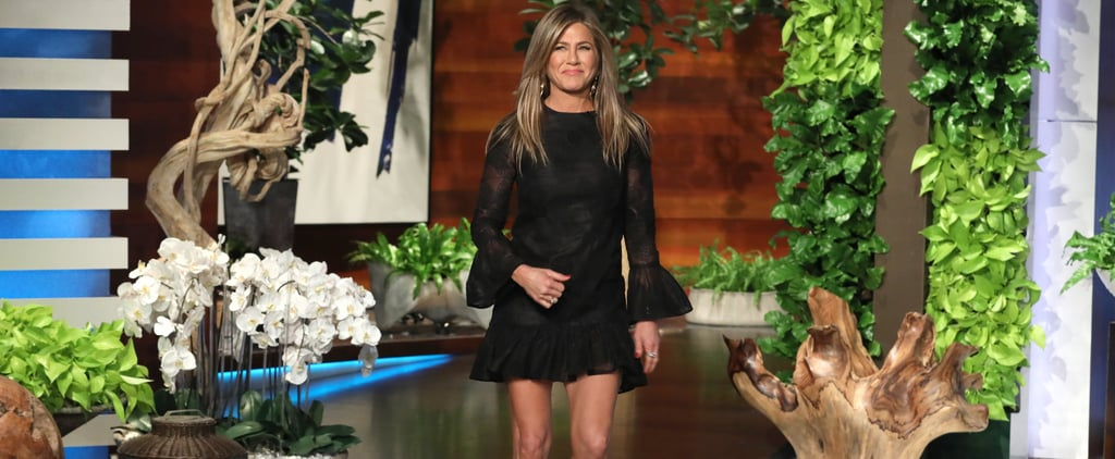 Jennifer Aniston Black Dress and Studded Sandals on Ellen