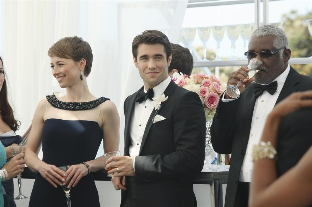 Margaux (Karine Vanasse) scored an invite to the wedding.