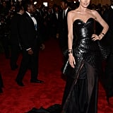Doutzen Kroes revealed a head-turning leather Theyskens' Theory confection on the Met Gala red carpet.