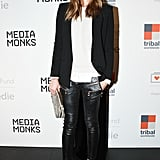 Dree Hemingway took an edgy turn in zipper-embellished leather leggings and crystal-encrusted heels at The Lunchbox Fund's New York event.