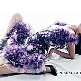 Candice Swanepoel wearing a frothy purple dress in Prabal Gurung's Spring campaign.