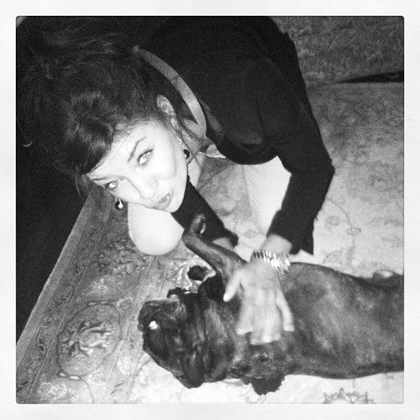 Jessica Szohr rolled around with her dog. Source: Instagram user itsmejessicaszohr