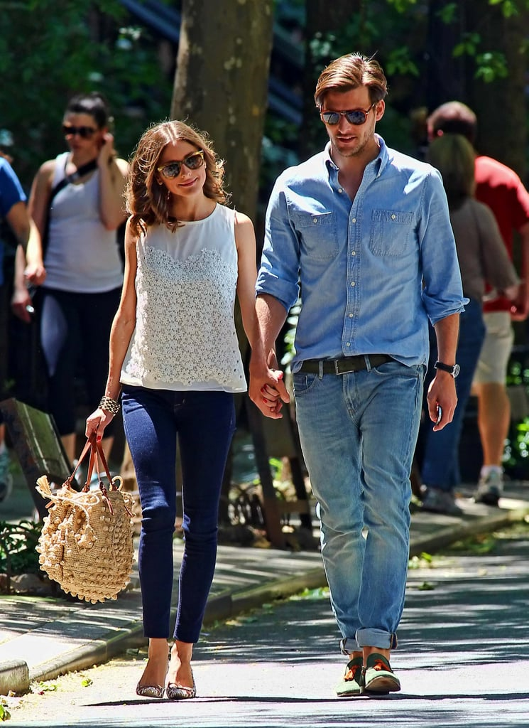 Olivia Palermo's look definitely struck a chord with us, mostly because of its sheer simplicity — she wore a cute floral tank with skinny blue jeans, then added printed flats and a crochet tote bag for a laid-back Summer look.