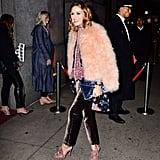 Olivia Palermo's Pink Velvet Mules