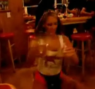 Hooters Girl Serves Beer and Tricks
