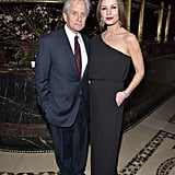 Michael Douglas and Catherine Zeta-Jones stayed close during the Phoenix House Public Service Award Dinner in NYC on Thursday.