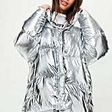Missguided Silver Metallic Puffer Jacket