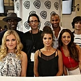 Pictured: Eliza Taylor, Isaiah Washington, Producer Jason Rothenberg, Marie Avgeropoulos, Ricky Whittle, Lindsey Morgan, and Devon Bostick.