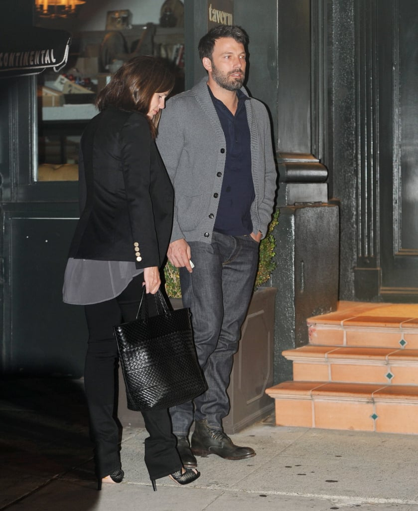 Jennifer Garner and Ben Affleck left the kids at home last night and stepped out together for a romantic dinner at Tavern in Brentwood, CA. The date night came on an extraspecial evening for the pair, who were celebrating their anniversary. In Ben and Jen's seven years of marriage, they've welcomed two daughters and more recently their first son, Samuel.  The stars are prepping for another great adventure this Fall as they balance parenting and their A-list careers. He's set to star in Runner, Runner, a tale of offshore online gambling, with Justin Timberlake, in addition to promoting his latest directing feature, Argo. Jen's also returning to work soon with her The Odd Life of Timothy Green, opening nationwide Aug. 15. Happy anniversary, Ben and Jen!