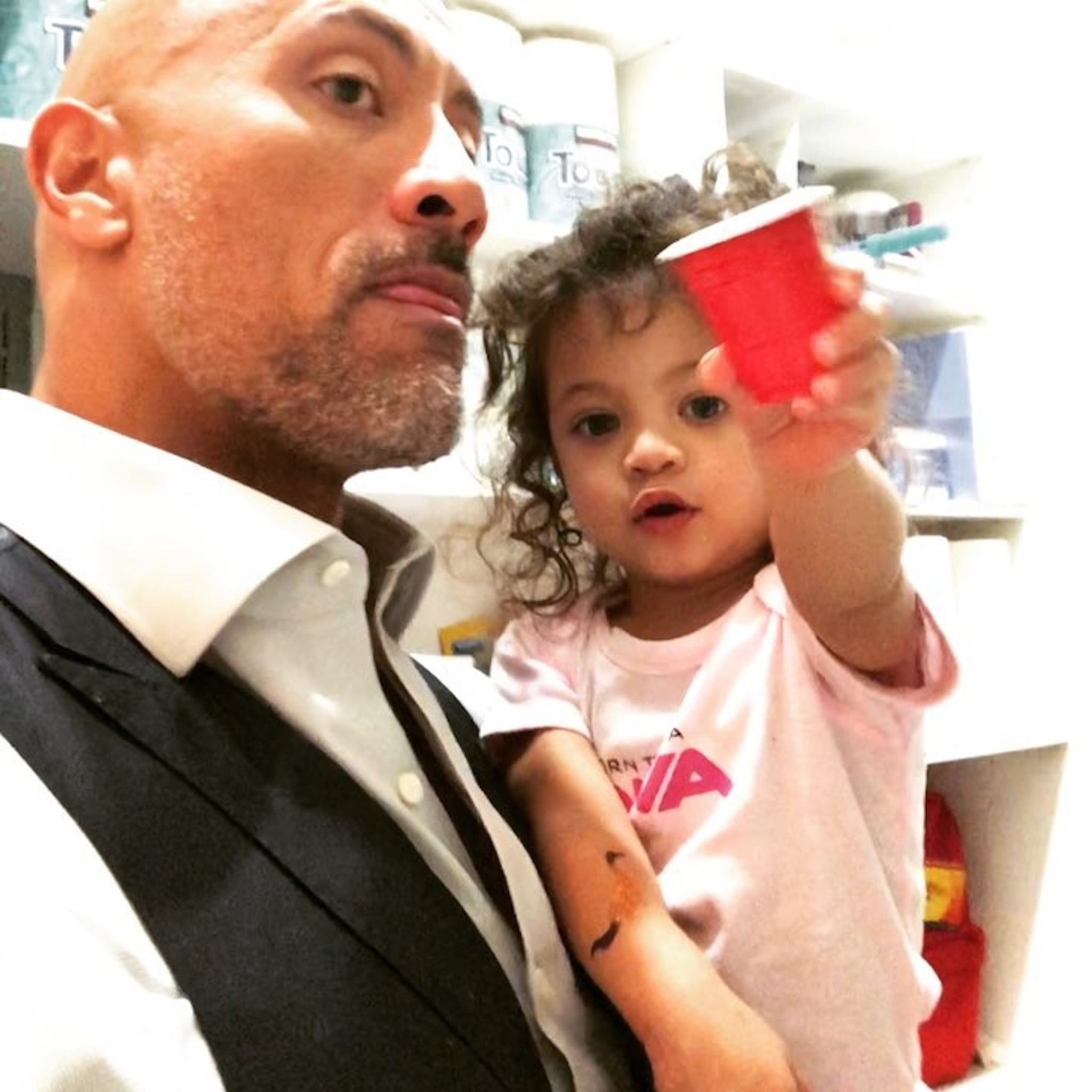 Dwayne Johnson And Daughter Jasmine Instagram Cup Video 2018