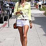 A bright yellow ombré button-up and white shorts made the perfect sunny outfit for a late Summer day.