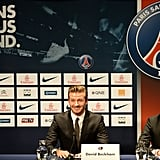 David Beckham smiled as the news was announced that he will join Paris St. Germain during a press conference.
