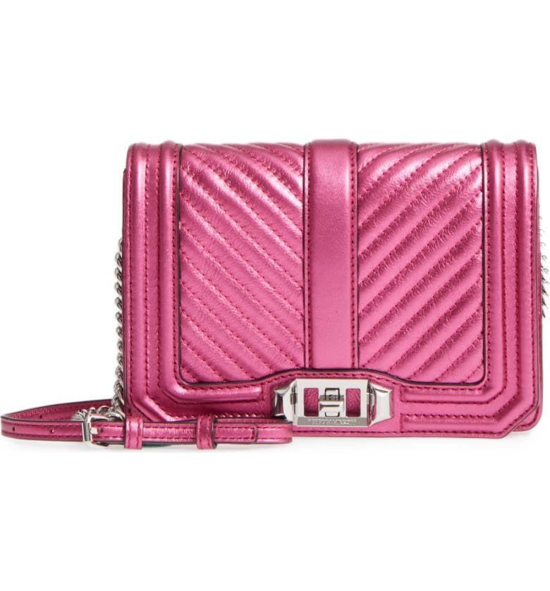 2023aec3e4de Rebecca Minkoff Small Love Metallic Leather Crossbody Bag