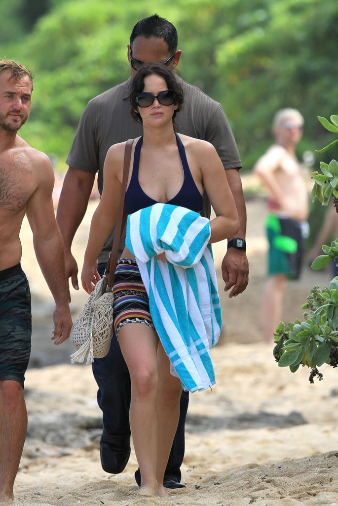 Jennifer Lawrence wore a bikini yesterday to hit the beach in Hawaii with her brother. She jetted out of LA earlier this week to spend time on the islands, and Wednesday, she donned a different two-piece to explore the surf. Jennifer managed to enjoy time by the water after a whirlwind few weeks of doing press for Silver Linings Playbook, which opened in wide release yesterday. Silver Linings Playbook reviews have been quite good so far —do you plan to see it this weekend? She did double duty between talking up Silver Linings and logging time on the set of her next movie, the Hunger Games sequel Catching Fire.