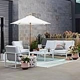 MoDRN Glam Ava 4-Piece Aluminum Sunbrella Cushioned Conversation Set
