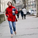 Let an oversize sweater in a brilliant color give your regular blue jeans some new life.