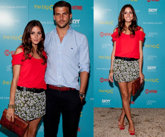 Olivia Palermo Wearing Red Cutout Top and Floral Skirt 2010-08-09 10:03:57