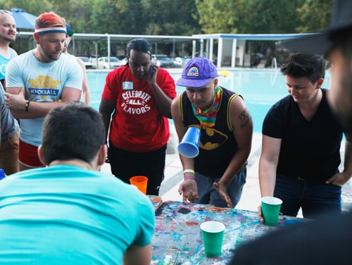 A game of flip cup at Camp No Counselors.