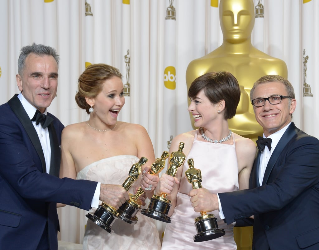 Daniel Day-Lewis, Jennifer Lawrence, Anne Hathaway, and Christoph Waltz celebrated their Oscars wins.