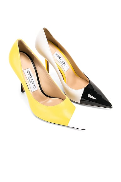 Jimmy Choo Asymmetrical Love 100 Heel in Black, White & Fluo Yellow