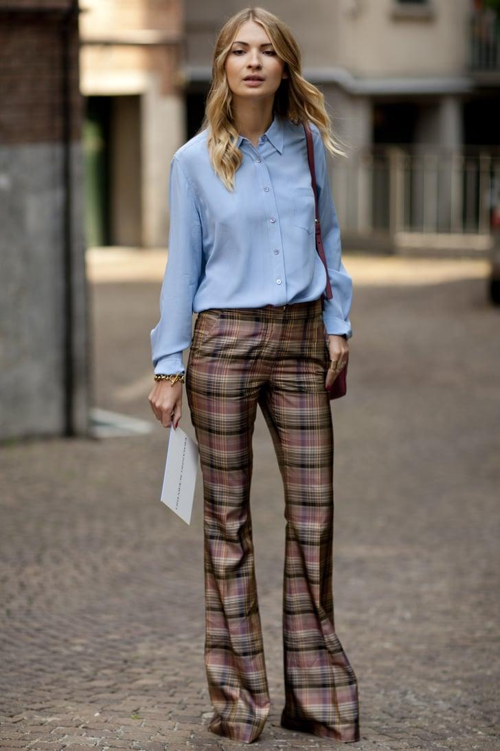 Plaid pants make for a preppy alternative to denim or ...