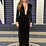Miley Cyrus Wearing a Saint Laurent Dress at the Vanity Fair Oscars Party
