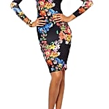 Romwe Backless Floral Print Dress