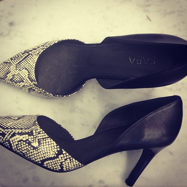 Pretty snakeskin d'orsay pumps caught Ali's eye when she hit Saba's latest collection launch.
