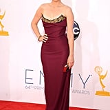 Tina Fey donned a figure-flattering gown with gold neckline detailing by Vivienne Westwood at the 2012 Emmys.
