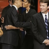 Michelle greets Barack after the South Carolina Democratic Party Presidential Primary Debate in April 2007.