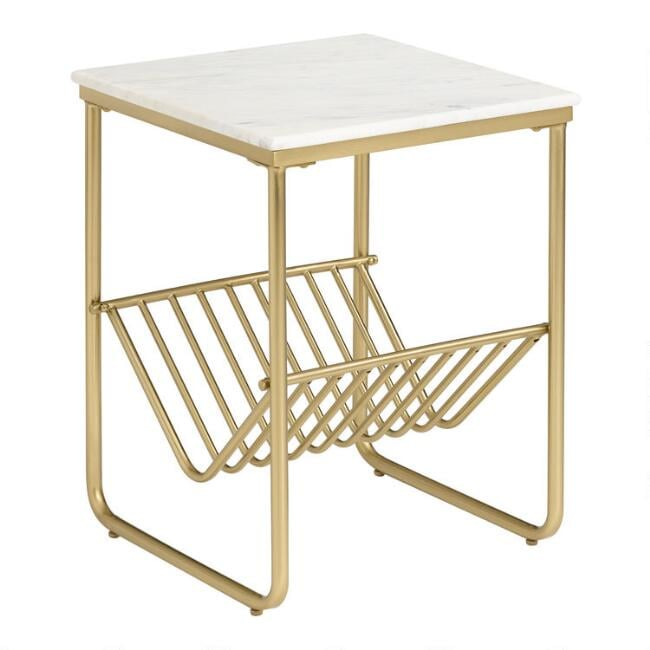 White Marble and Gold Metal Waylon Accent Table With Rack