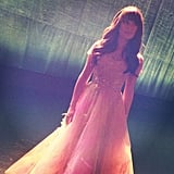 Lea Michele shared a picture of herself in a gown on the set of Glee. Source: Instagram user msleamichele