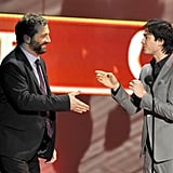 Producer Judd Apatow accepts favorite comedy award for Bridesmaids from Ian Somerhalder.