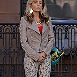 Lindsey Gort was in costume as Samantha on the set of The Carrie Diaries in NYC on Monday.