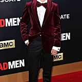 Mason Vale Cotton was absolutely adorable in his cranberry velour suit jacket and bow tie. With a look like this, there's no denying that Bobby will make all the girls swoon in no time, just like Don.