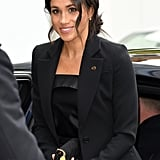 Meghan Markle in a Black Suit at WellChild Awards Sept. 2018