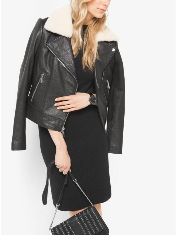 Michael Kors Shearling-Collar Leather Moto Jacket ($495)