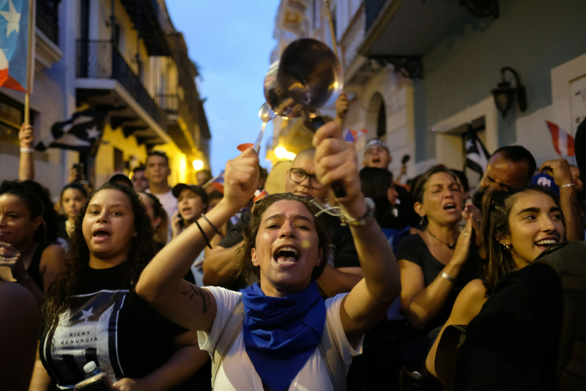 Demonstrators protest in front of the mansion of Puerto Rico's Governor, Ricardo Rossello, known as La Fortaleza, in San Juan, Puerto Rico, on July 24, 2019. - Puerto Rico's embattled governor was reportedly preparing to resign Wednesday, yielding to huge street protests in the US territory triggered by the release of a chat exchange in which he and others mocked gays, women and hurricane victims. Huge crowds of Puerto Ricans have been demonstrating regularly since pages and pages of chat exchanges were made public. (Photo by Ricardo ARDUENGO / AFP)        (Photo credit should read RICARDO ARDUENGO/AFP/Getty Images)