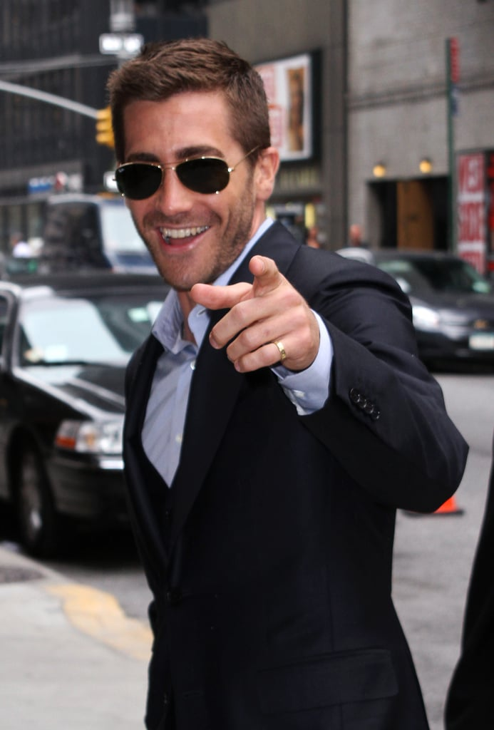 "He did his best ""hey, girl"" while arriving for an appearance on the Late Show in NYC in May 2010."
