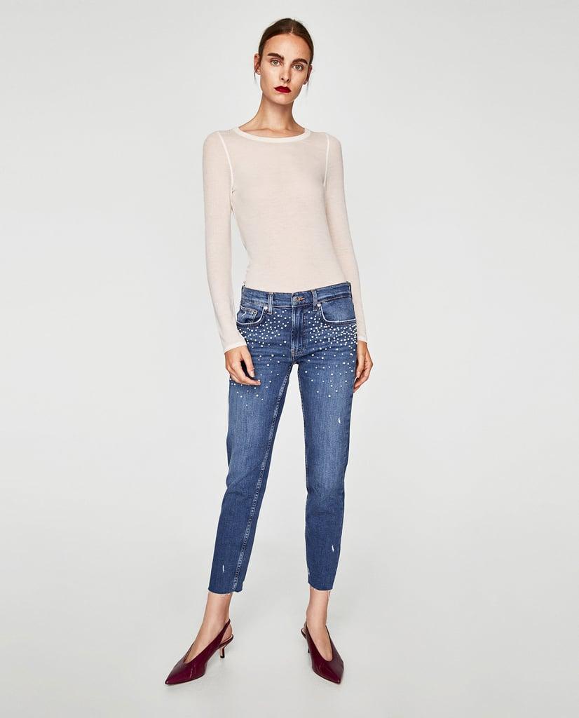 Zara Pearl Boyfriend Jeans